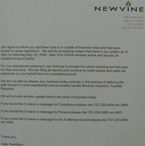 New Vine shutdown notice posted on their shuttered office door.